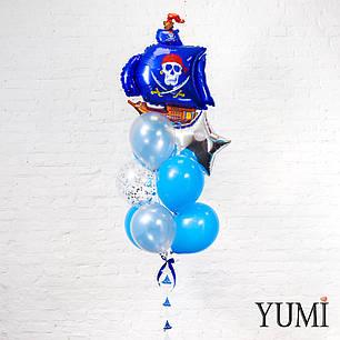 Связка из шара Синий корабль, звезды серебро, 7 синих и серебряных шаров, 1 шара с конфетти + декор: гирлянда, фото 2