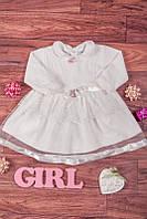 Нарядное велюровое платье для девочки на крещение 3-6 мес.
