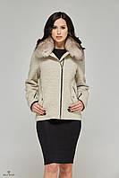 Демисезонное женское пальто со съемным воротником из натурального меха авто-леди