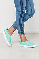 Женские туфли, слипоны из натуральной кожи мятного цвета на белой платформе