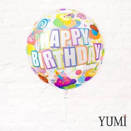 "Прозрачный шар с рисунком для ребенка с рисунком ""Happy Birthday"" кексы, фото 2"