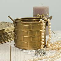 Декоративный винтажный горшок, кашпо, латунь Индия, фото 1
