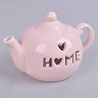 Чайник-подсвечник нежно-розовый