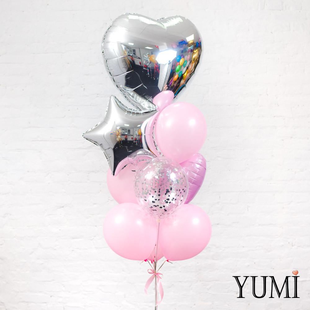 Стильная композиция из шаров с гелием для девушки