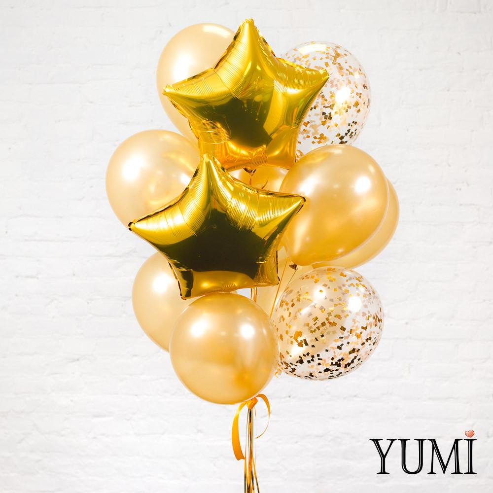 Связка из 2 золотых звезд, 10 золотых и 3 прозрачных шаров с золотым конфетти