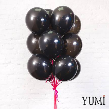 Связка из 15 черных шаров на атласных лентах фуксия, фото 2