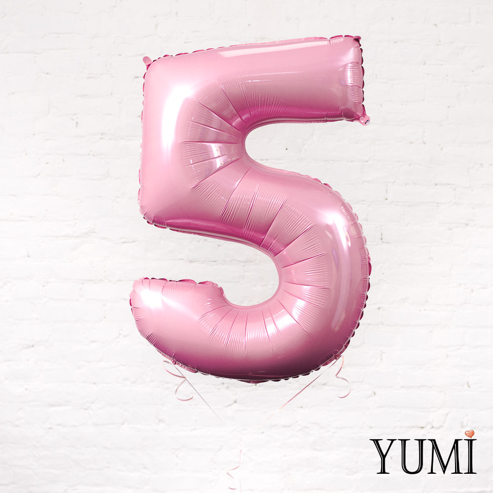 Цифра 5 нежно-розовая