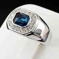 Мужское кольцо с кристаллами Swarovski, покрытое золотом 0744