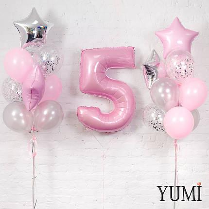 Композиция из цифры 5 розовой и 2 фонтанов из 20 серебряно-розовых фольгированных,латексных и шаров с конфетти, фото 2