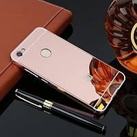 Металлический бампер с акриловой вставкой с зеркальным покрытием для Xiaomi Redmi Note 5A Prime / Y1 РОЗОВЫЙ