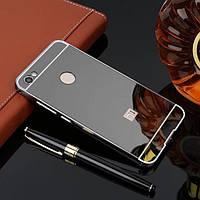 Металлический бампер с акриловой вставкой с зеркальным покрытием для Xiaomi Redmi Note 5A Prime / Y1 ЧЕРНЫЙ