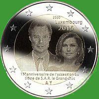 Люксембург 2 евро 2015 г. 15-летие вступления на престол Великого герцога Анри . UNC
