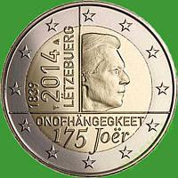 Люксембург 2 евро 2014 г. 175 лет независимости Люксембурга . UNC