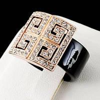 Яркое кольцо с кристаллами Swarovski, покрытое слоями золота 0745