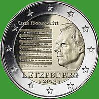 Люксембург 2 евро 2013 г. Национальный гимн . UNC