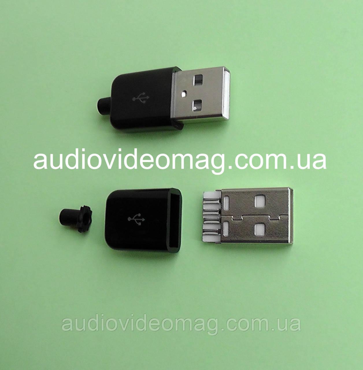 USB штекер разборной, для пайки на кабель, черный