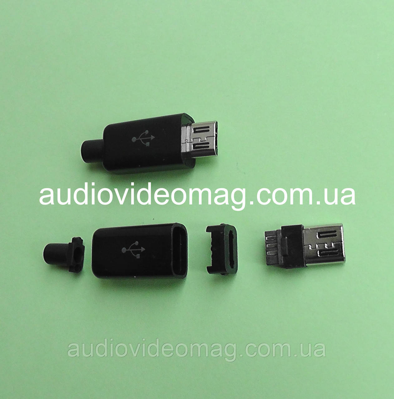 Штекер micro USB 5pin для пайки на кабель, черный