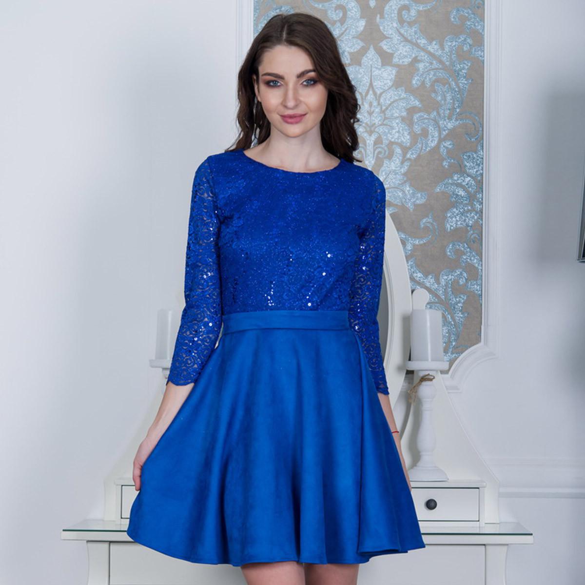 """Нарядное женское платье из гипюра и замши """"Росина"""""""