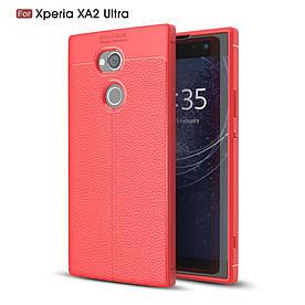 Чехол накладка для Sony Xperia XA2 Ultra H3213 силиконовый, Фактура кожи, красный