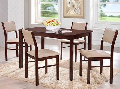 Комплект Лорри: стол + 4 стула шоколад к/з беж