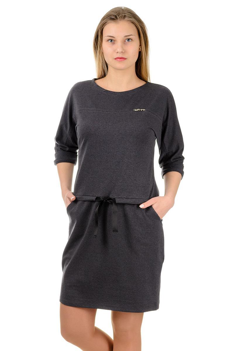 Сукня спортивне повсякденне жіноче трикотажне з кишенями і атласним поясом