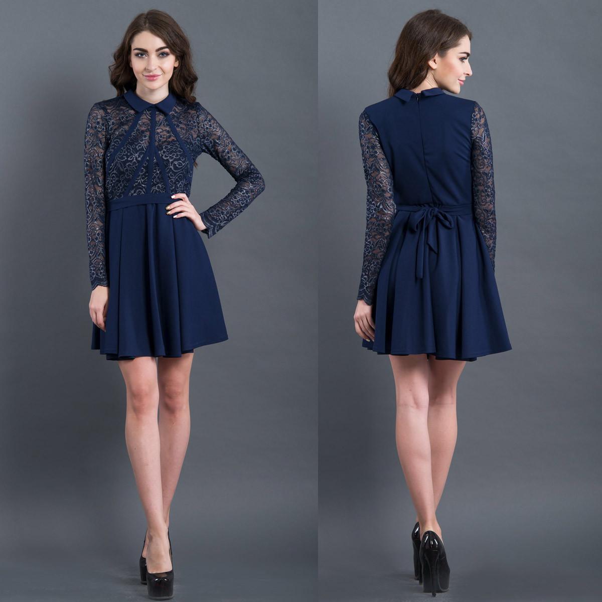 aa13c2eb25f Коктейльное платье синего цвета с гипюром