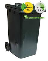 Бак для мусора пластиковый 240л. Антрацит., фото 1