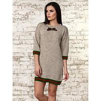Платье - туника с милым бантиком и рукавом 3/4 в разных цветах размеры 42-46