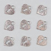 """Подвеска металлическая """"Сердце"""", 2.2×2.4 см, 10 шт."""