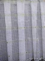 Красивая гардина на кухню белого цвета, сетка 1.5 м. высота.  Продажа от 1 м.,а также рулоном (от 30 м), фото 1