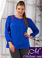 Легкая женская блуза цвета электрик (50, 52, 54, 56) арт. 10013