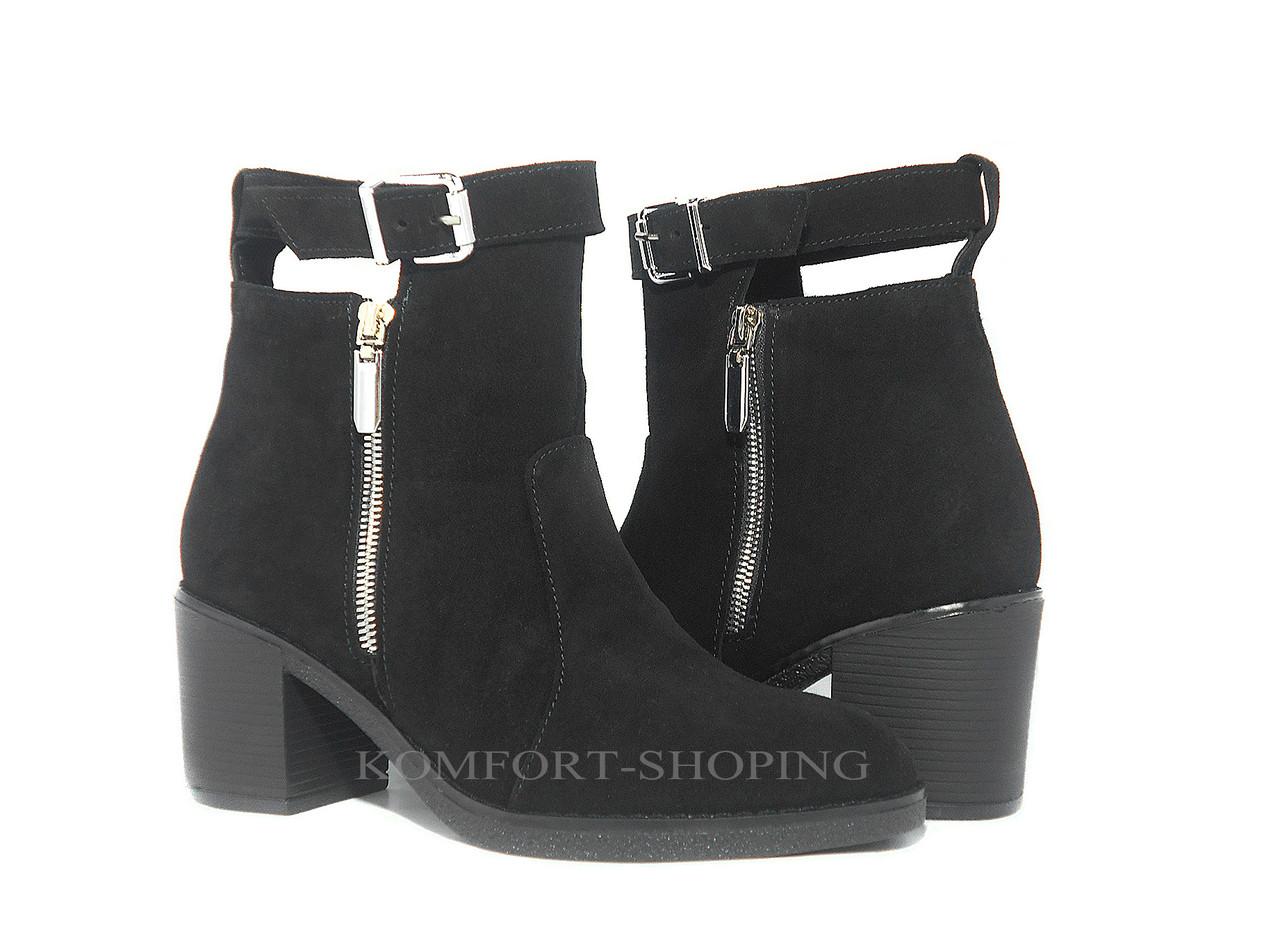 Женские замшевые ботинки на  каблуке   V 1158