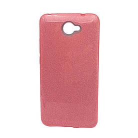 Чехол накладка для Huawei Y7 2017 силиконовый 3-в-1, Fashion Case GLITTER, Розовый