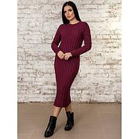 Длинное вязаное платье ниже колена в разных цветах 42-48