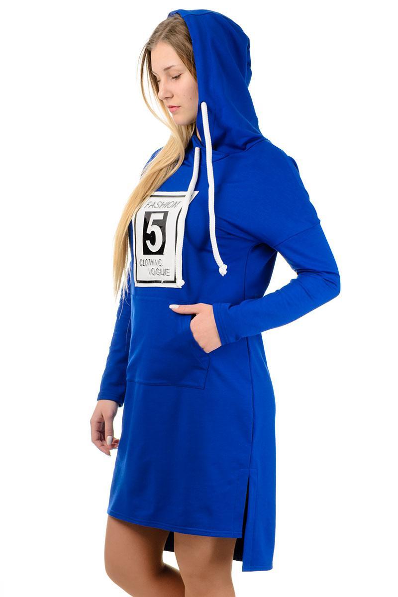 """Сукні з капюшоном спортивне повсякденне жіноче видовжене трикотажне з кишенями """"кенгуру"""""""