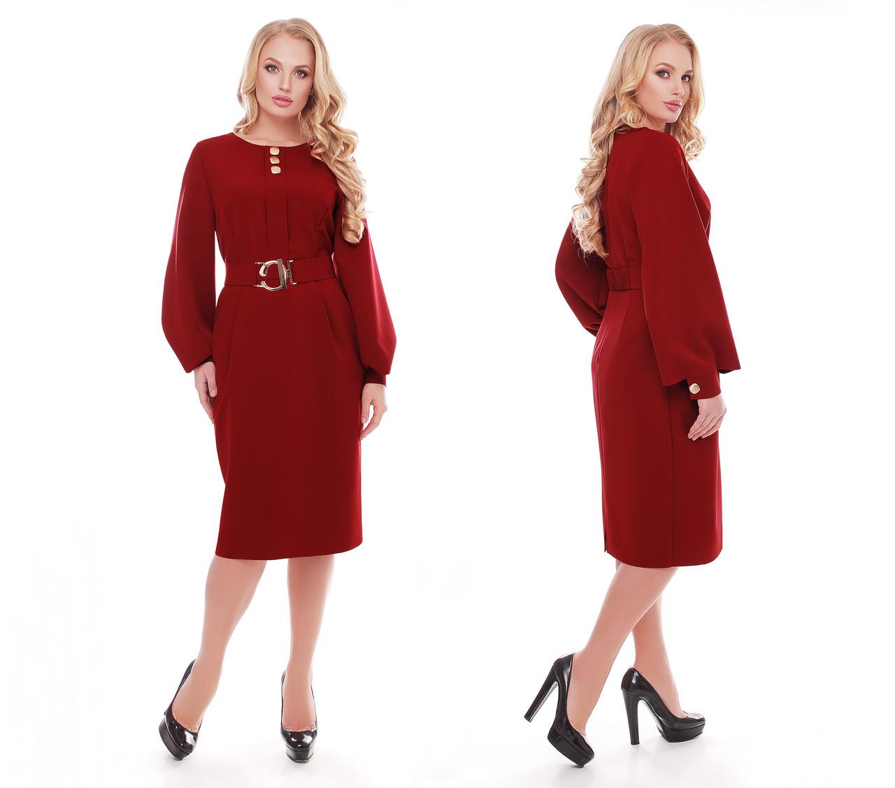 Женское стильное платье Екатерина цвет бордо / размер 52-58