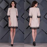 """Бежевое платье с черным кружевом """"Оливия"""", фото 1"""