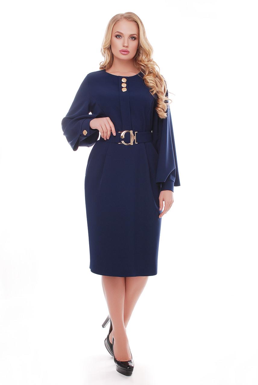 Женское стильное платье Екатерина цвет темно синий / размер 52-58