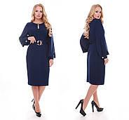 Женское стильное платье Екатерина цвет темно синий / размер 52-58, фото 3