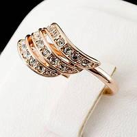 Изумительное колечко с кристаллами Swarovski, покрытое слоями золота 0749