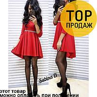 Женское платье, коктейльное, с камнями, красного цвета / нарядное, укороченное, стильное, хитовое, 2018
