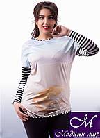 Оригинальная  женская блуза с жемчужиной  (ун. 48-54) арт. 8264