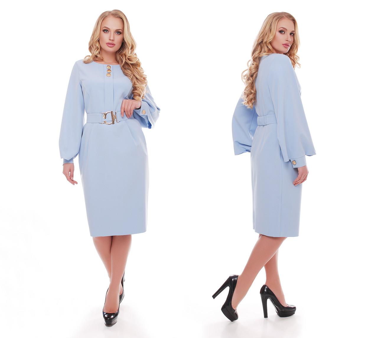 Женское стильное платье Екатерина цвет голубой / размер 54-58
