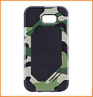 Бронированный противоударный TPU+PC чехол MOTOMO (Military) для Samsung A7 (2017) SM-A720 Сamouflage/Green