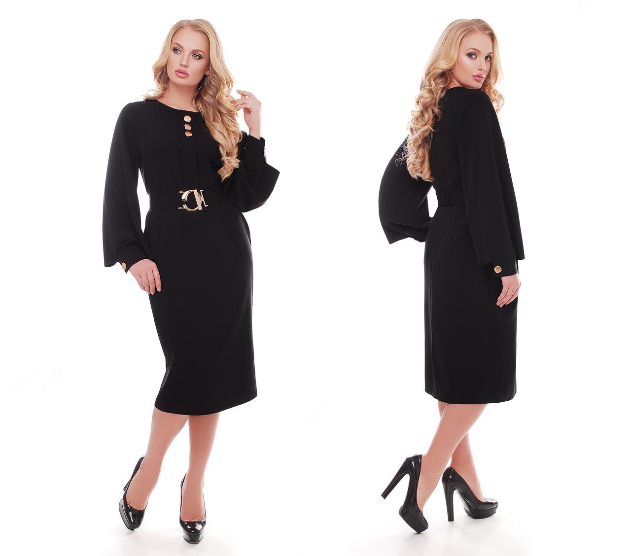 Женское стильное платье Екатерина цвет черный / размер 52-58