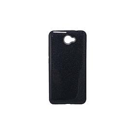 Чехол накладка для Huawei Y7 2017 силиконовый 3-в-1, Fashion Case GLITTER, Черный