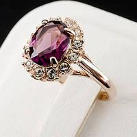 Стильное кольцо с кристаллами Swarovski, покрытое слоями золота 0751
