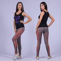Лосины спортивные для фитнесса серые с цветным поясом, фото 1