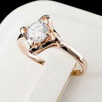 Яркое кольцо с кристаллами Swarovski, покрытое слоями золота 0752