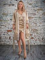 Женский халат с гипюром
